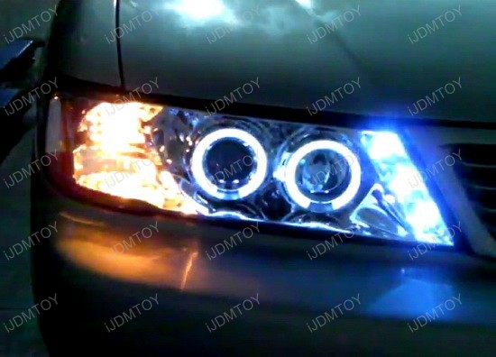 1995-1999 Nissan SENTRA Chrome Housing Dual Halo Angel Eyes Projector LED Headlights