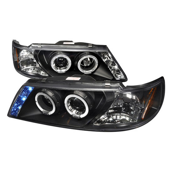 1995-1999 Nissan SENTRA Black Housing Dual Halo Angel Eyes Projector LED Headlights