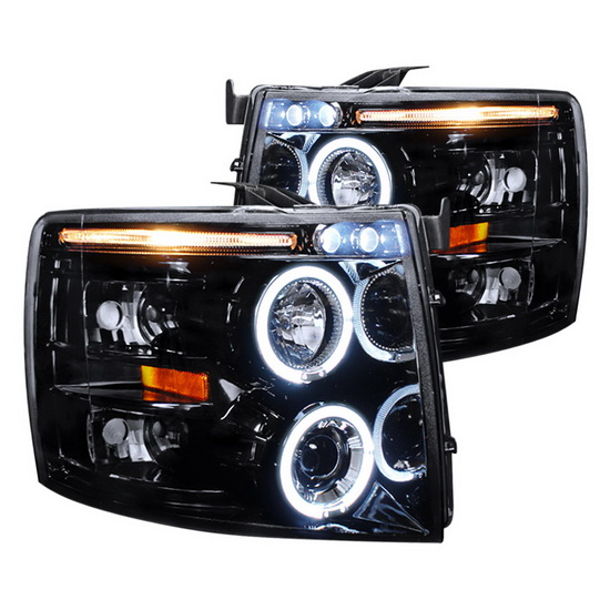 2007-2010 Chevy SILVERADO Black Housing Projector Headlights