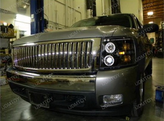 2007-2012 Chevrolet SILVERADO Black Housing Dual Halo Angel Eyes Projector LED Headlights