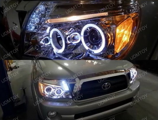 05 11 toyota tacoma chrome dual halo projector led headlights 05 11 toyota tacoma chrome housing dual halo projector led headlights publicscrutiny Image collections