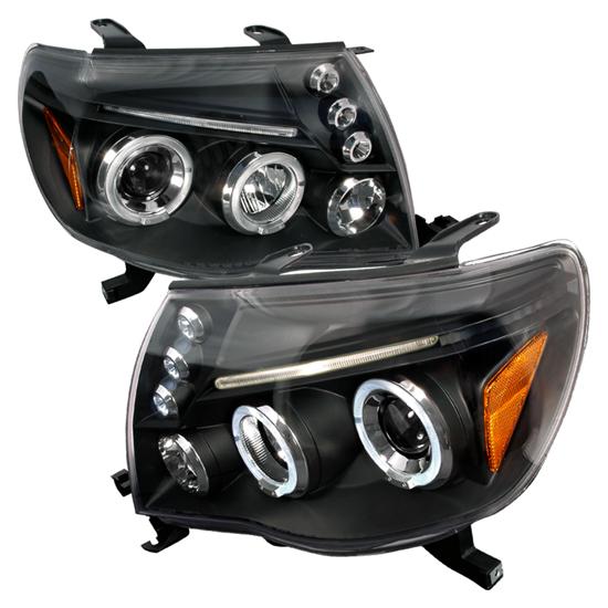 05-11 Toyota TACOMA Black Dual Halo Projector LED Headlights
