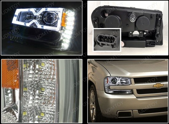 2002-2009 Chevrolet TRAILBLAZER Chrome Housing Clear Lens Halo Rim Angel Eyes Projector LED Headlights