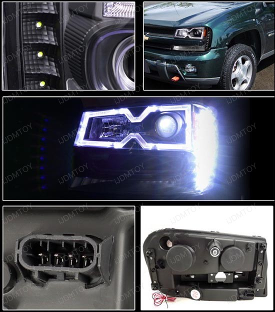 2002-2009 Chevrolet TRAILBLAZER Black Housing Clear Lens Halo Rim Angel Eyes Projector LED Headlights
