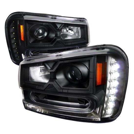 02 09 Chevrolet Trailblazer Black Projector Led Headlights