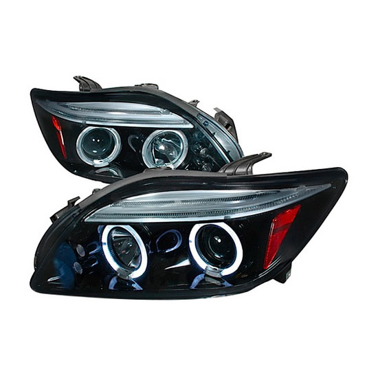 2004-2010 Scion TC Black Housing Dual Halo Angel Eyes Projector LED Headlights