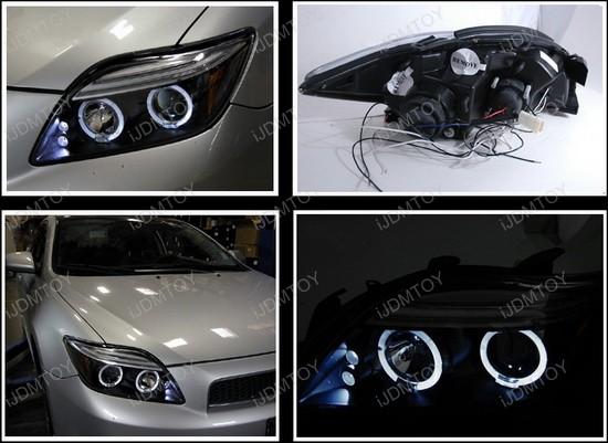 0510 Scion TC Black Dual Halo Projector LED Headlights