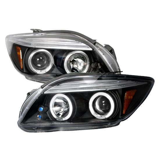 05-10 Scion TC Black Housing Dual Halo Projector LED Headlights