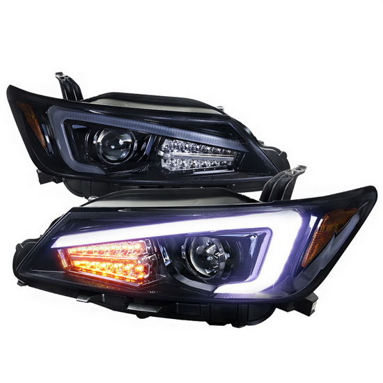 11-13 Scion TC Black Housing Projector Headlights with LED Light Bar