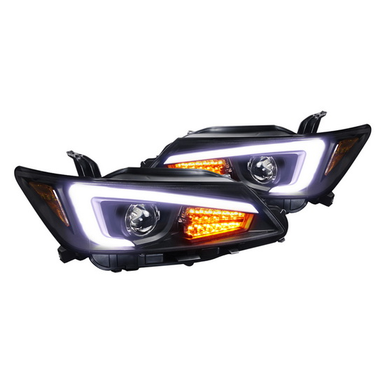 2011-2013 Scion TC Black Housing Projector Headlights with LED Bar