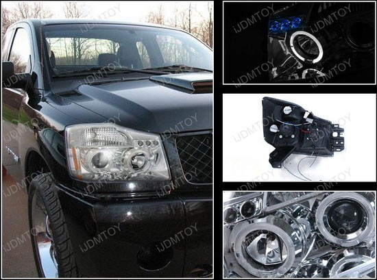 04-07 Nissan TITAN/ARMADA Chrome Housing Dual Halo Projector LED Headlights