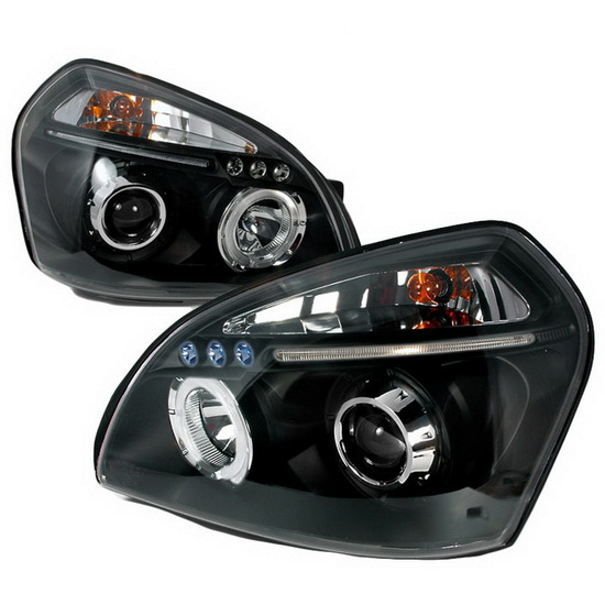 2004-2007 Hyundai TUCSON Black Housing Halo LED Projector Headlights