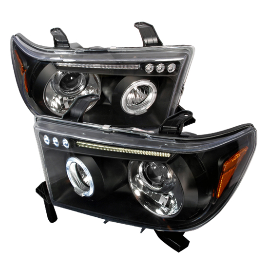 07-08 Toyota TUNDRA Black Housing Single Halo Angel Eye Projector LED Headlights