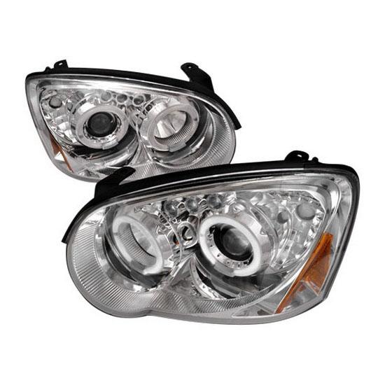 2004-2005 Subaru IMPREZA WRX/STI Chrome Housing Dual Halo Angel Eyes Projector LED Headlights