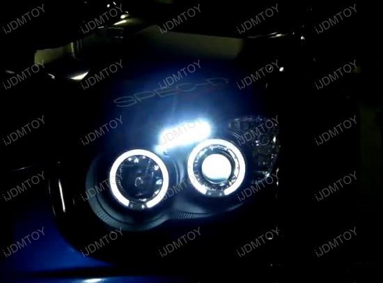 04-05 Subaru IMPREZA Black Housing Smoke Lens Dual Halo Angel Eyes Projector LED Headlights