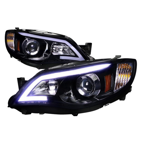 08-13 Subaru IMPREZA Black Housing Smoke Lens Projector Headlights