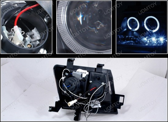 2005-2007 Nissan XTERRA Black Housing Dual Halo Angel Eyes Projector LED Headlights