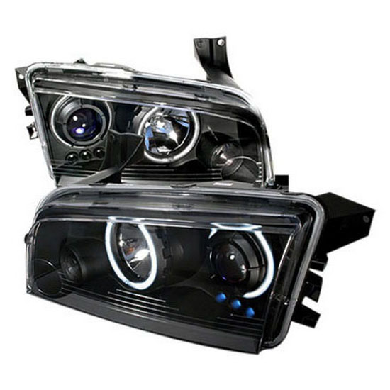 05-10 Dodge CHARGER Black Housing Dual CCFL Halo Angel Eyes Projector Headlights