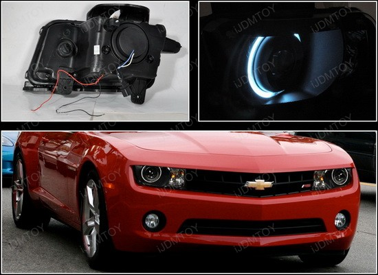 2010 and up Chevrolet CAMARO Black Housing Single CCFL Halo Angel Eyes Projector Headlights
