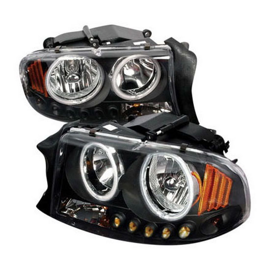 1997 2004 Dodge Dakota Durango Black Housing Dual Halo Angel Eyes Projector Led Headlights