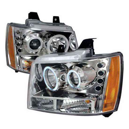 07-10 Chevrolet AVALANCHE Chrome Housing Dual CCFL Halo Angel Eyes Projector Headlights