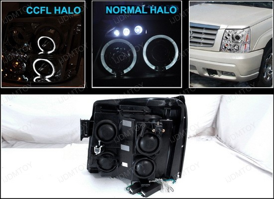 02-06 Cadillac ESCALADE Chrome Housing Dual CCFL Halo Angel Eyes Projector LED Headlights