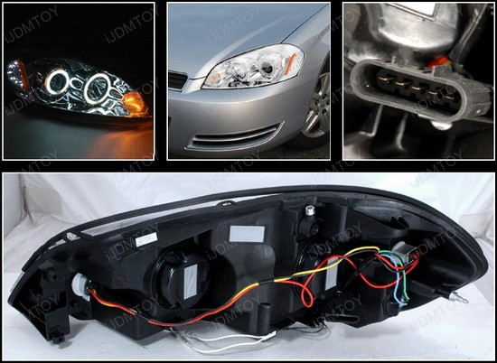 4LHP IPA06 KS 4 06 12 chevrolet impala chrome dual ccfl halo projector headlights GM Headlight Wiring Harness at gsmportal.co