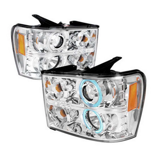 2007-2008 GMC SIERRA Chrome Housing Dual CCFL Halo Angel Eyes Projector LED Headlights