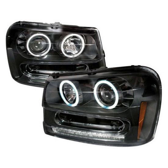 02 05 Chevrolet Trailblazer Black Ccfl Halo Projector Led Headlights
