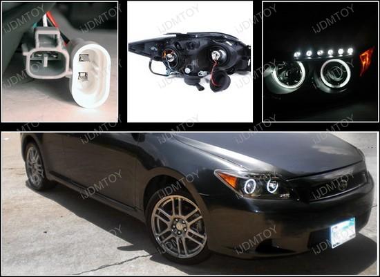 05 10 Scion Tc Black Dual Ccfl Halo Projector Led Headlights