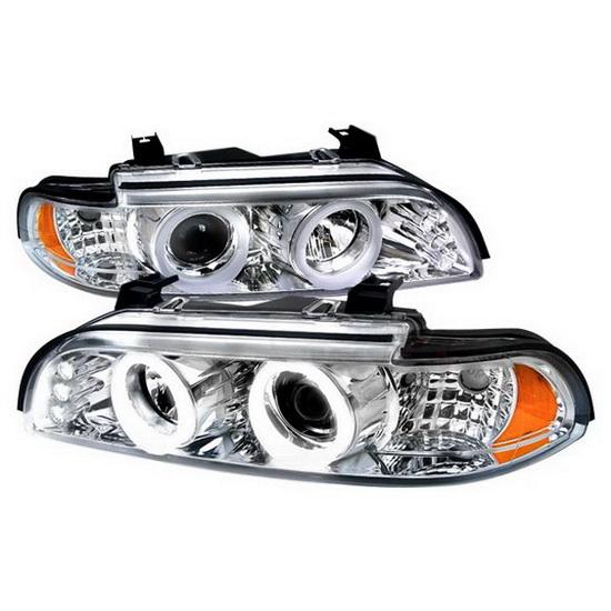 97 03 bmw e39 5 series chrome halo projector headlights. Black Bedroom Furniture Sets. Home Design Ideas