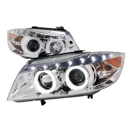 06 08 Bmw E90 3 Series Chrome R8 Halo Projector Headlights