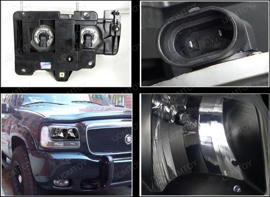 99-00 Cadillac ESCALADE Black Euro Style Reflector Headlights