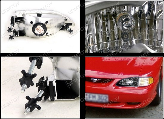 1994 1998 Ford Mustang Black Housing Clear Lens Euro Style Reflector Headlights