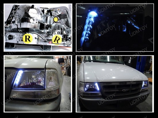 98 00 ford ranger black euro headlights with leds
