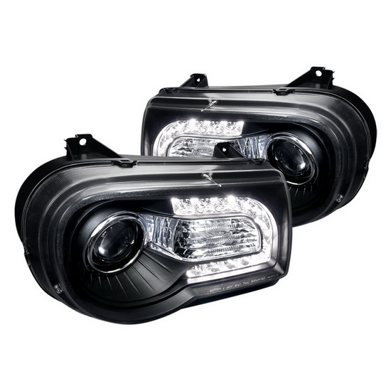 2005-2010 Chrysler 300C Black Housing Projector Headlights