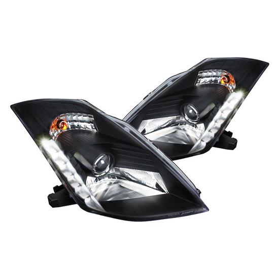 2003-2005 Nissan 350Z Black Housing Projector Headlights