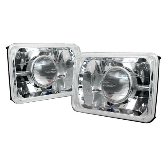 "Universal Fit 4"" x 6"" Chrome Crystal Projector Headlight Lamps"