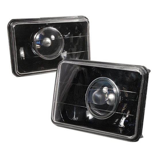 "Universal Fit 4"" x 6"" Black Housing Projector Headlight Lamps"