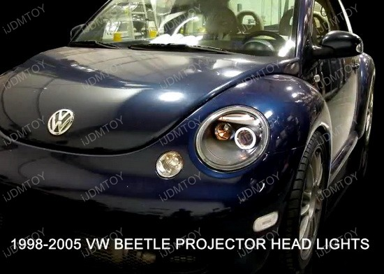 LHP BEE98 TM 4 98 05 volkswagen beetle chrome housing single halo projector Old VW Bug at soozxer.org