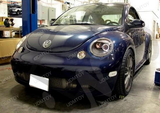 1998-2005 Volkswagen BEETLE Black Housing Single Halo Angel Eye Projector Headlights