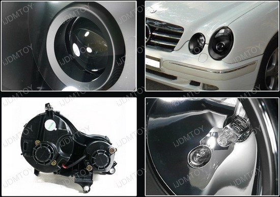 00 02 mercedes benz w210 black aftermarket projector for Mercedes benz aftermarket headlights