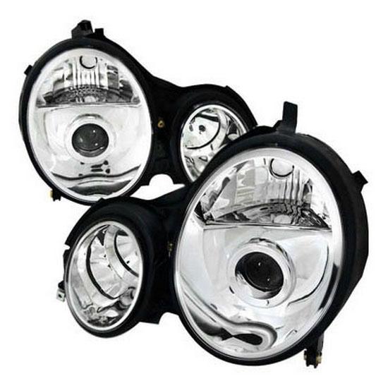 96 99 mercedes benz w210 chrome aftermarket projector for Mercedes benz aftermarket headlights
