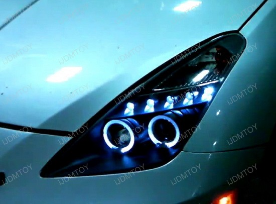 2000-2005 Toyota CELICA Black Housing Dual Halo Angel Eyes Projector LED Headlights