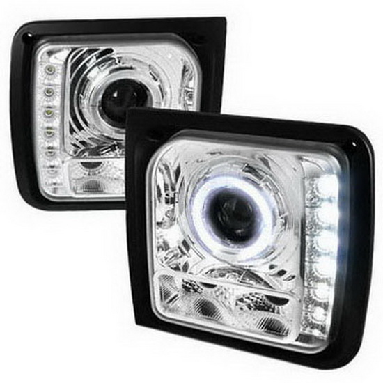 97-01 Jeep Cherokee Chrome Halo Projector Headlights with LEDs