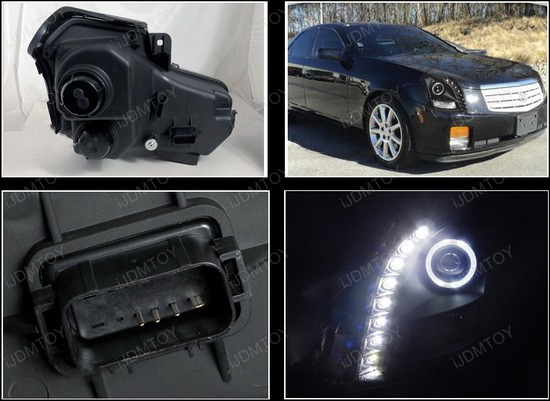 03-07 Cadillac CTS W/O HID Black Housing Halo Angel Eyes Projector LED Headlights and Daytime Running Lights