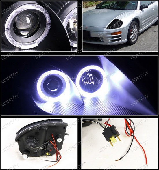 2000-2005 Mitsubishi ECLIPSE Black Housing Dual Halo Rim Angel Eyes Projector Headlights