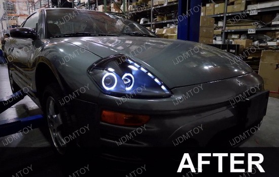 2000-2005 Mitsubishi ECLIPSE Black Housing Dual Halo Rim Angel Eyes Projector LED Headlights