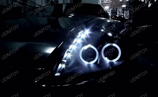 2000-2005 Mitsubishi ECLIPSE Black Housing Dual Halo Rim Angel Eyes Projector LED Headlights
