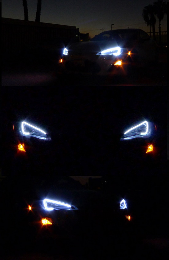 13-14 Scion FR-S Chrome Housing LED DRL Projector Headlights
